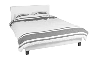 modern cadre de lit blanc 160x200 avec avec t te de lit sommier lattes. Black Bedroom Furniture Sets. Home Design Ideas