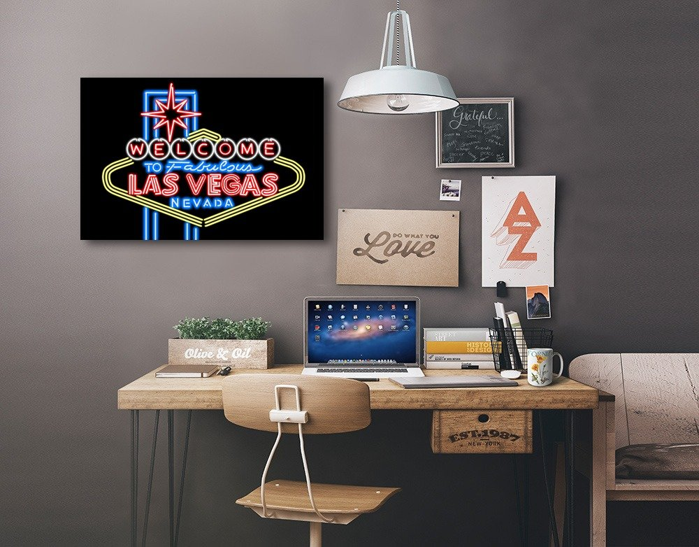 Las Vegas, Nevada - Neon Lights Welcome Sign (36x24 Gallery Quality Metal Art) 1