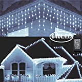 Hezbjiti 8 Modes LED Icicle Lights,65.6 FT 640 LED 120 Drops Fairy String Lights Plug in Extendable Curtain Light String Christmas Lights for Bedroom Patio Yard Garden Wedding Party (Cold White) (Color: Cold white 2)