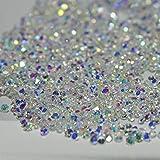 MOPRETTY 1440Pcs Mini Diamond Shining DIY Rhinestones Iridescent Crystals Need Glue Phone & Nail Art Decoration (AB Clear) (Color: AB)