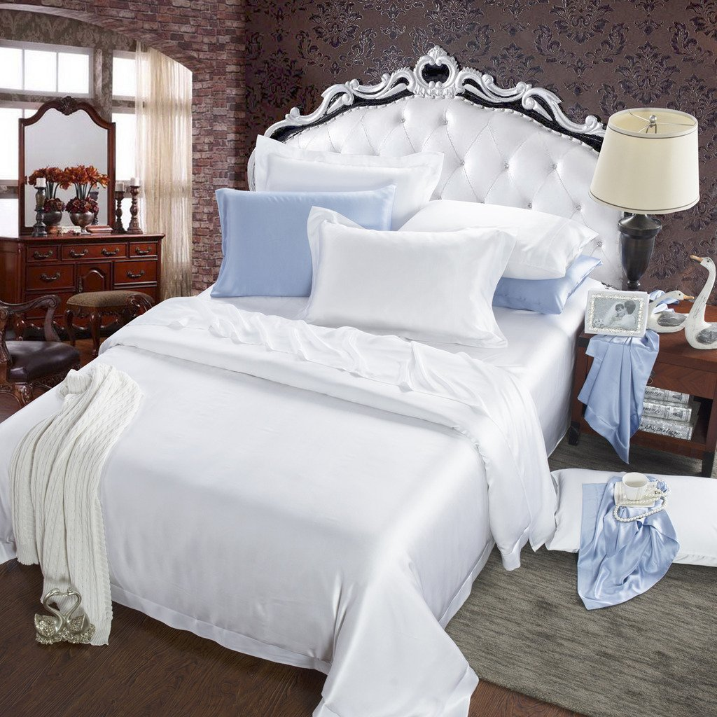 Orifashion Limited Edition 7-Piece 100% Silk Bright White Solid Color Bedding Set, California King Size
