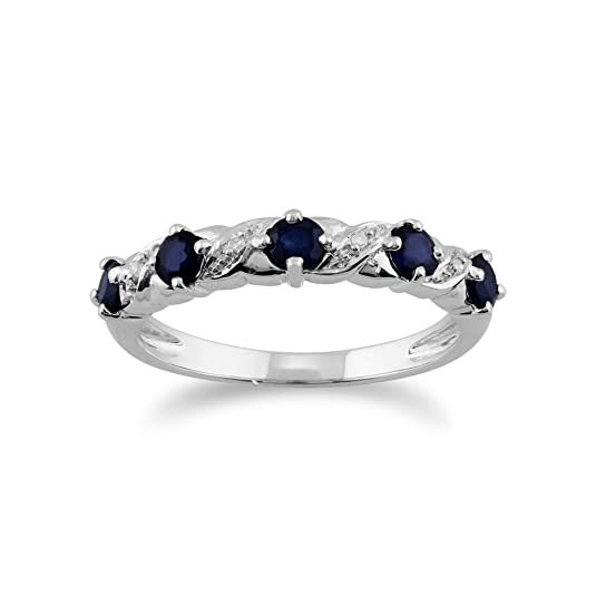 Gemondo Sapphire Ring, 9ct White Gold 0.61ct Blue Sapphire & Diamond Half Eternity Ring