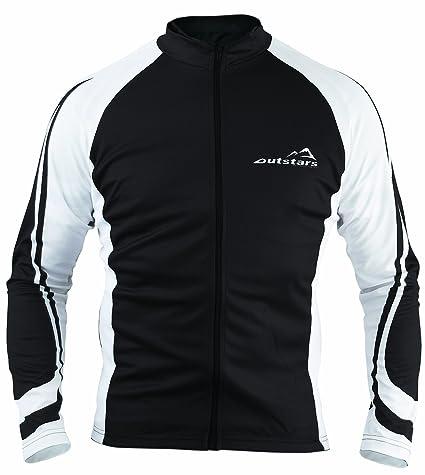 Outstars 71015 Maillot Cycliste/Bike Manches Longues, Noir/Blanc, XL