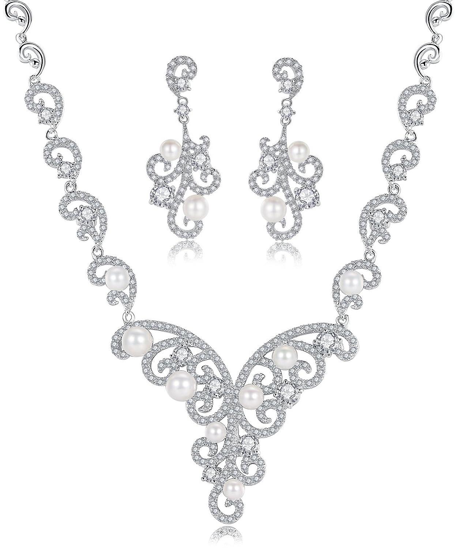 Hochzeit Braut Erklärung Halskette und Ohrringe Set für Damen, Muschelkernperlen und Zirkonia Flora bestellen