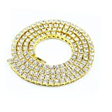 14K Gold Plated Iced Out 1 Row Tennis Simulated Diamond Hip-Hop Chain Necklace (24)