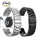 Gear S3 Frontier / Classic Watch Bands, 22mm Solid Stainless Steel Metal Replacement Smart Watch Strap Business Bracelet + Tempered Glass for Samsung Gear S3 Frontier / s3 Classic Sport Smart Watch