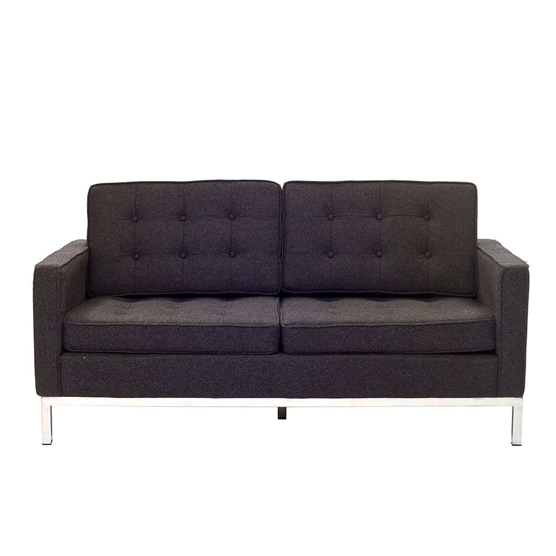 LexMod Florence Style Loveseat in Dark Gray Wool