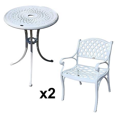 Lazy Susan - Tavolo bistro 60 cm ELLA e 2 sedie da giardino - Set da giardino in alluminio pressofuso, colore Bianco (sedie KATE)