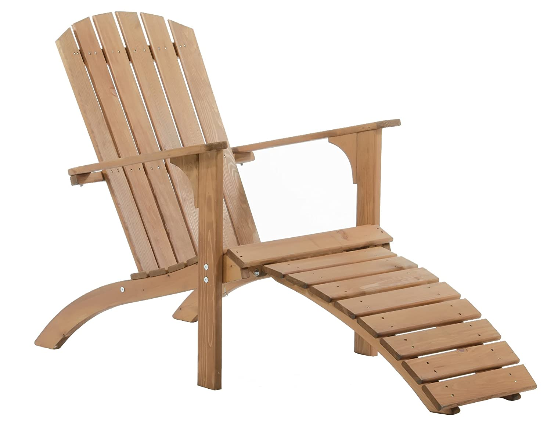 GARDENho.me Nordischer ADIRONDACK Chair Falun Massivholz Deckchair Holzliege Braun