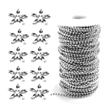 Tiparts 82FT Ball Bead Chains Stainless Steel Ball Chain Necklaces with 50 Pcs Matching Connectors(Ball Chains Width:2.4mm + 50 Connectors) (Color: steel)