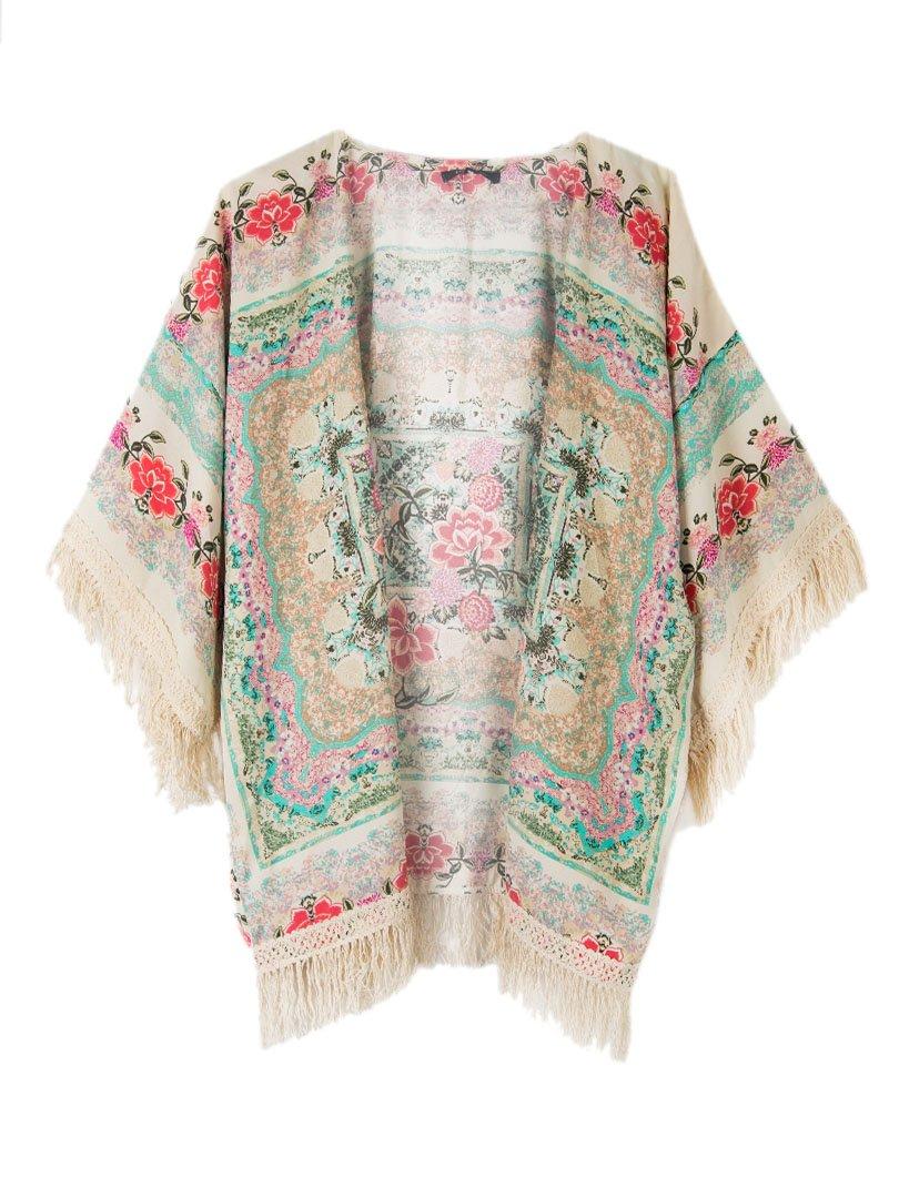 Persun Women Vintage Floral Fringe Kimono Cardigan Jacket Blouse 1