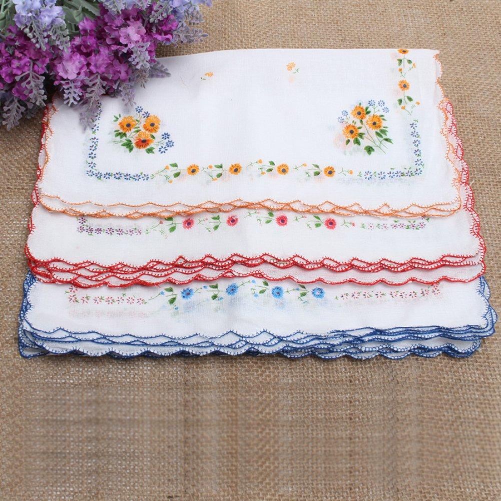 CANIS 12pcs/Set Lot Ladies Women Vintage Cotton Quadrate Hankies Floral Handkerchief 1