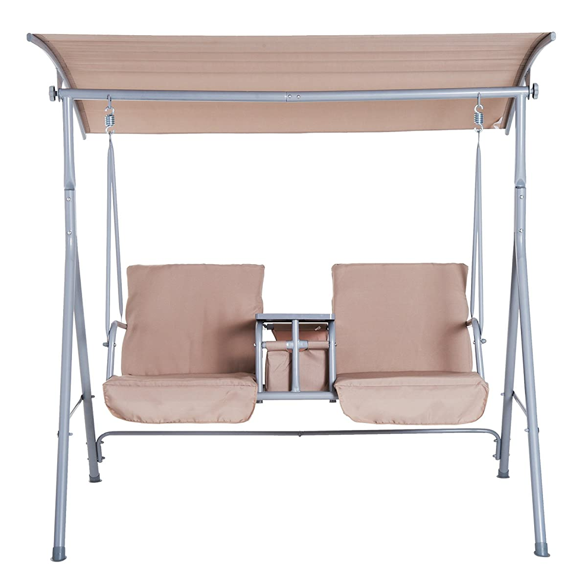 Outsunny 2 Person Covered Patio Swing with Pivot Table & Storage Console - Beige
