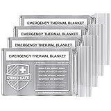 Swiss Safe Emergency Mylar Thermal Blankets (4-Pack) + Bonus Signature Gold Foil Space Blanket: Designed for NASA, Outdoors, Hiking, Survival, Marathons or First Aid (Color: Silver)