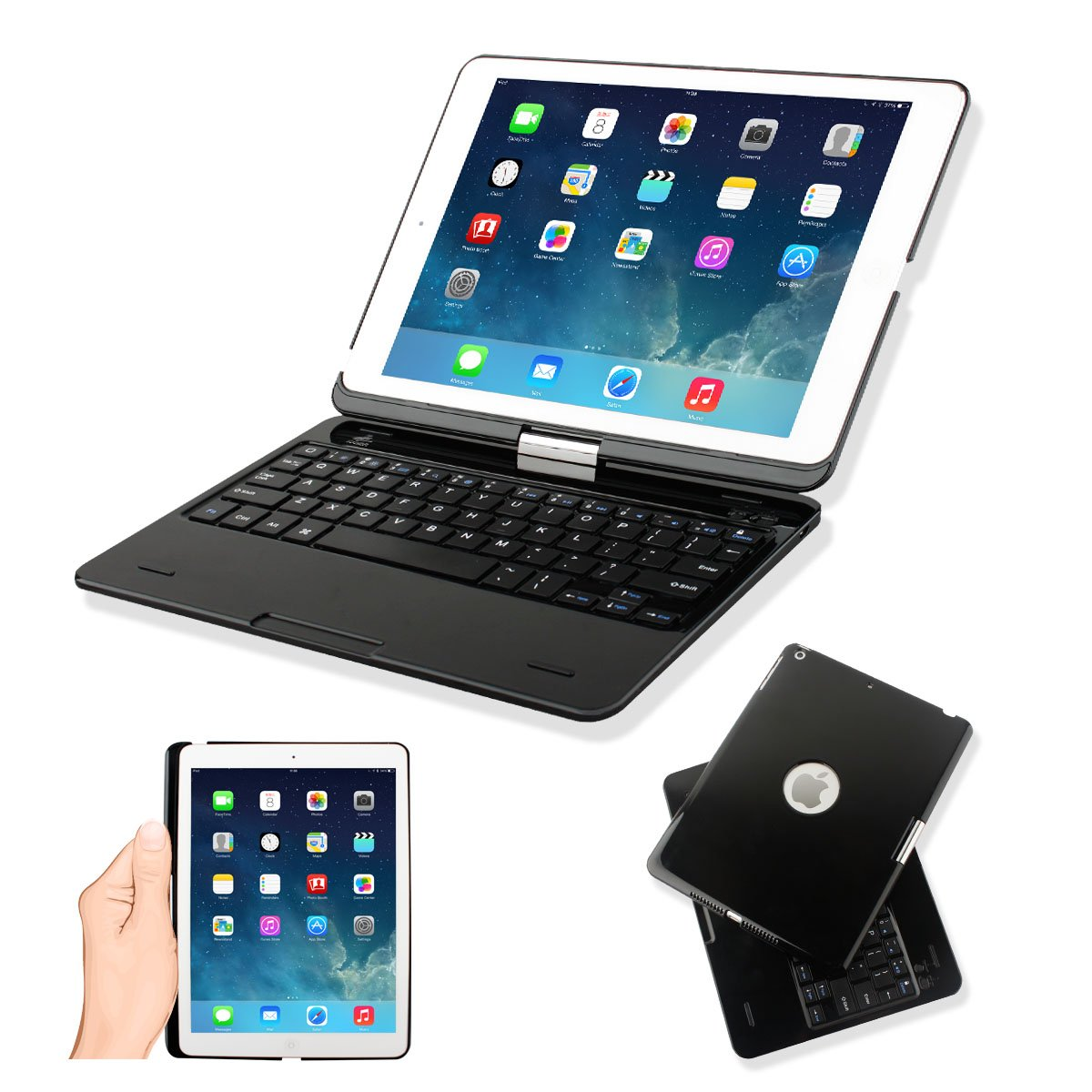 Kamor® iPad Air iPad 5 Case Cover with Keyboard, Apple iPad Air Retina 32gb 16gb Keyboard Case High Quality Protective Cover with Ultra Slim Bluetooth Keyboard for iPad 5 (5Gen 5th Generation) with 360 Degree Rotating Feature and Multiple Viewing Angles, Folio Style with IOS Commands for Kids, Girls, Boys, Girlfriend, Boyfriend, Women, Men, Toddlers   BlackCustomer reviews and more information