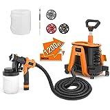 Paint Sprayer, Tacklife SGP17AC 1200W Hvlp Paint Gun, 1100ml/min& 1200ml Detachable Containers, Universal Wheel, Perfect for Priming, Painting, etc. (Color: Orange)