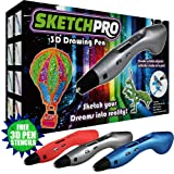 LATEST EDITION 3D Pen Kit - 3D Printing Pen, Kid Gift w/ LED Screen - Art Toy w/ FREE Art Stencils for 3D Drawing - Arts and Crafts (Color: Silver)