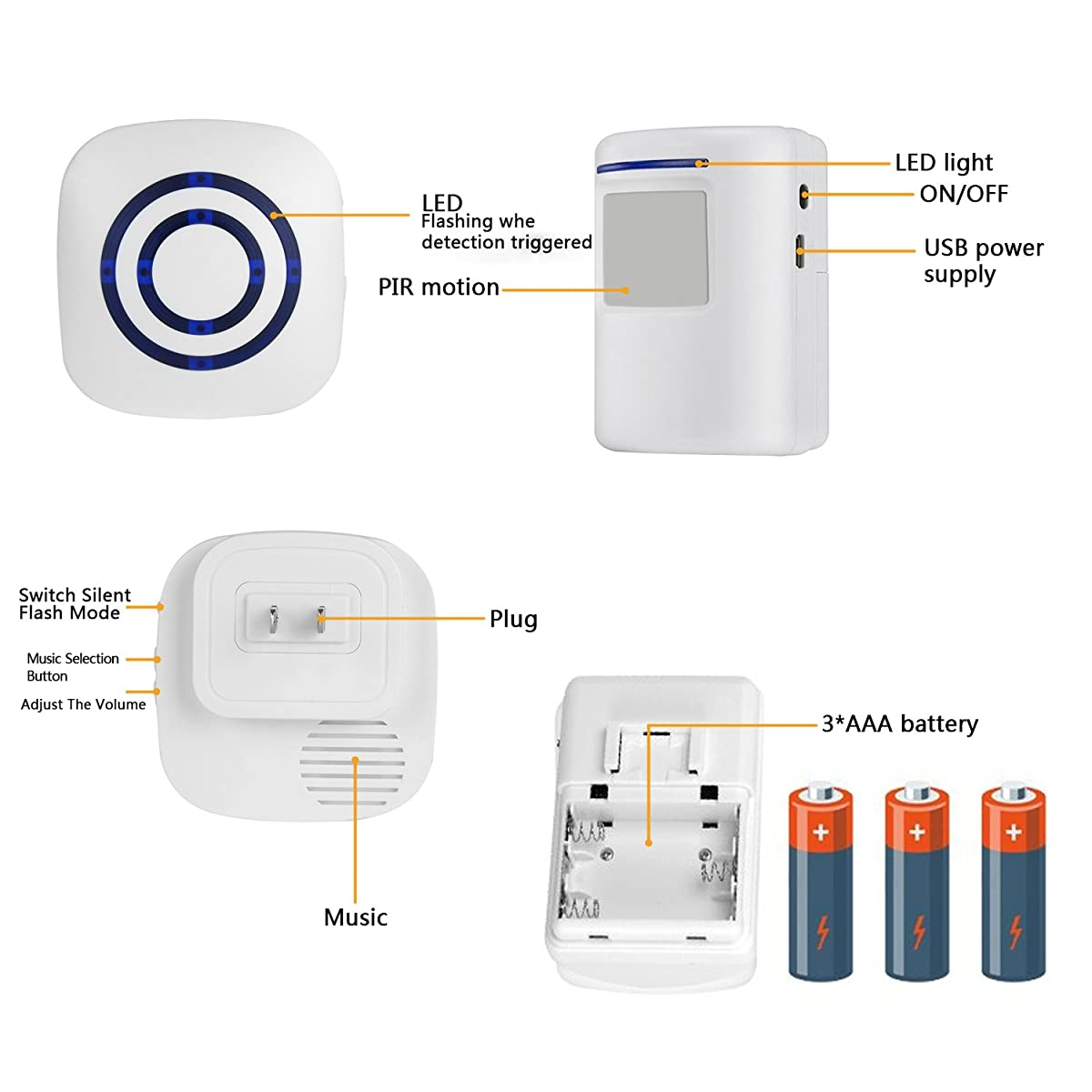 Wireless Driveway Alert Doorbell Home Security Alarm