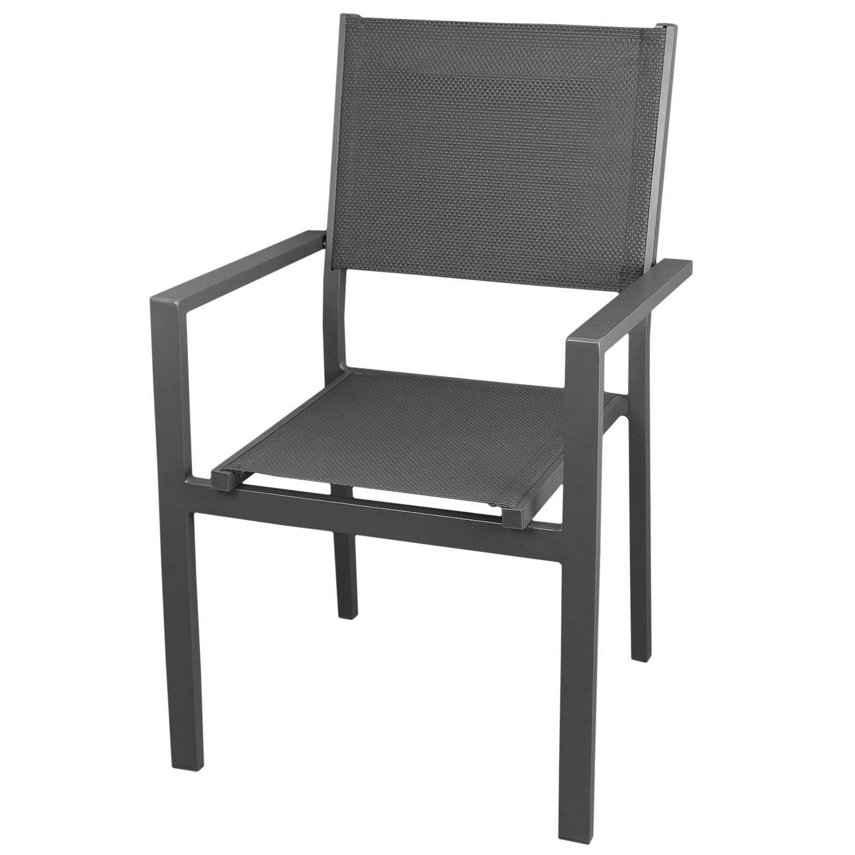 Stapelbarer Gartenstuhl Aluminium mit 4×4 Textilenbespannung Grau Bistrostuhl Balkonmöbel Terrassenmöbel online kaufen