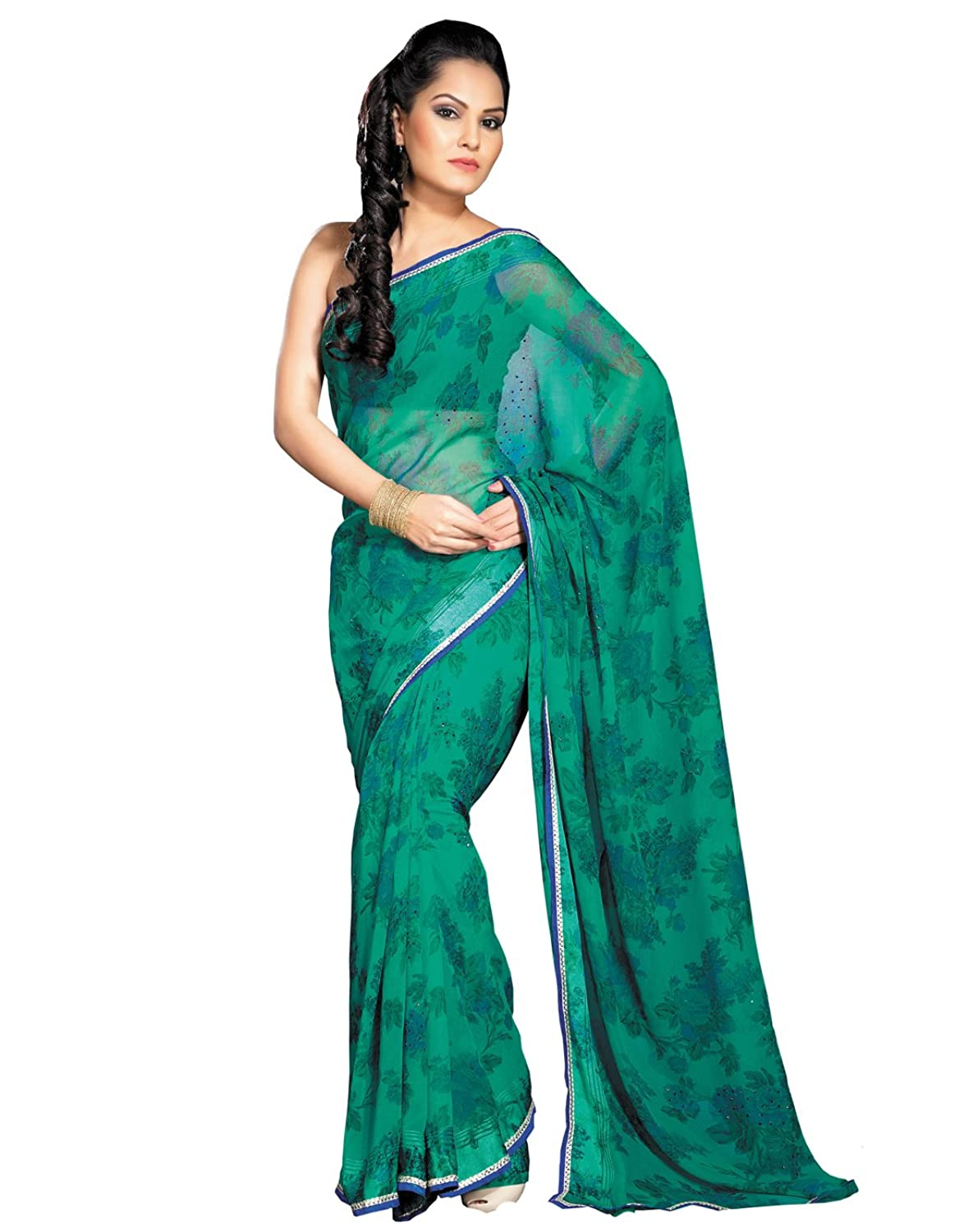 Ethnic Green Georgette Saree