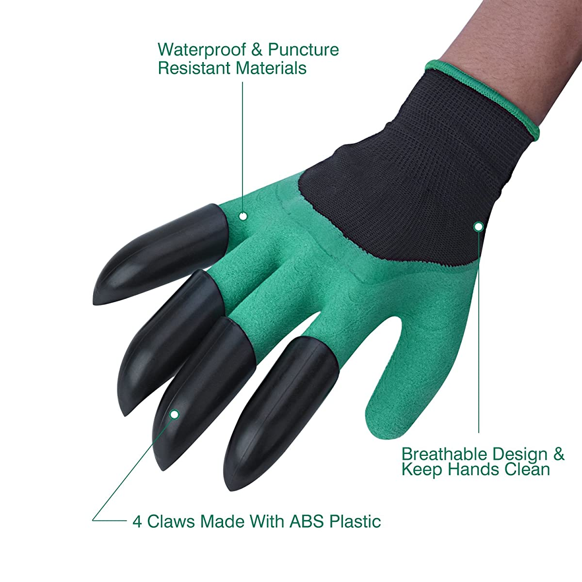 WEBSUN Garden Genie Gloves with Claws on EACH Hand Waterproof Digging Gloves for Gardening