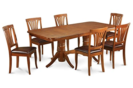 East West Furniture NAAV5-SBR-LC 5-Piece Dining Room Table and 4 Chairs