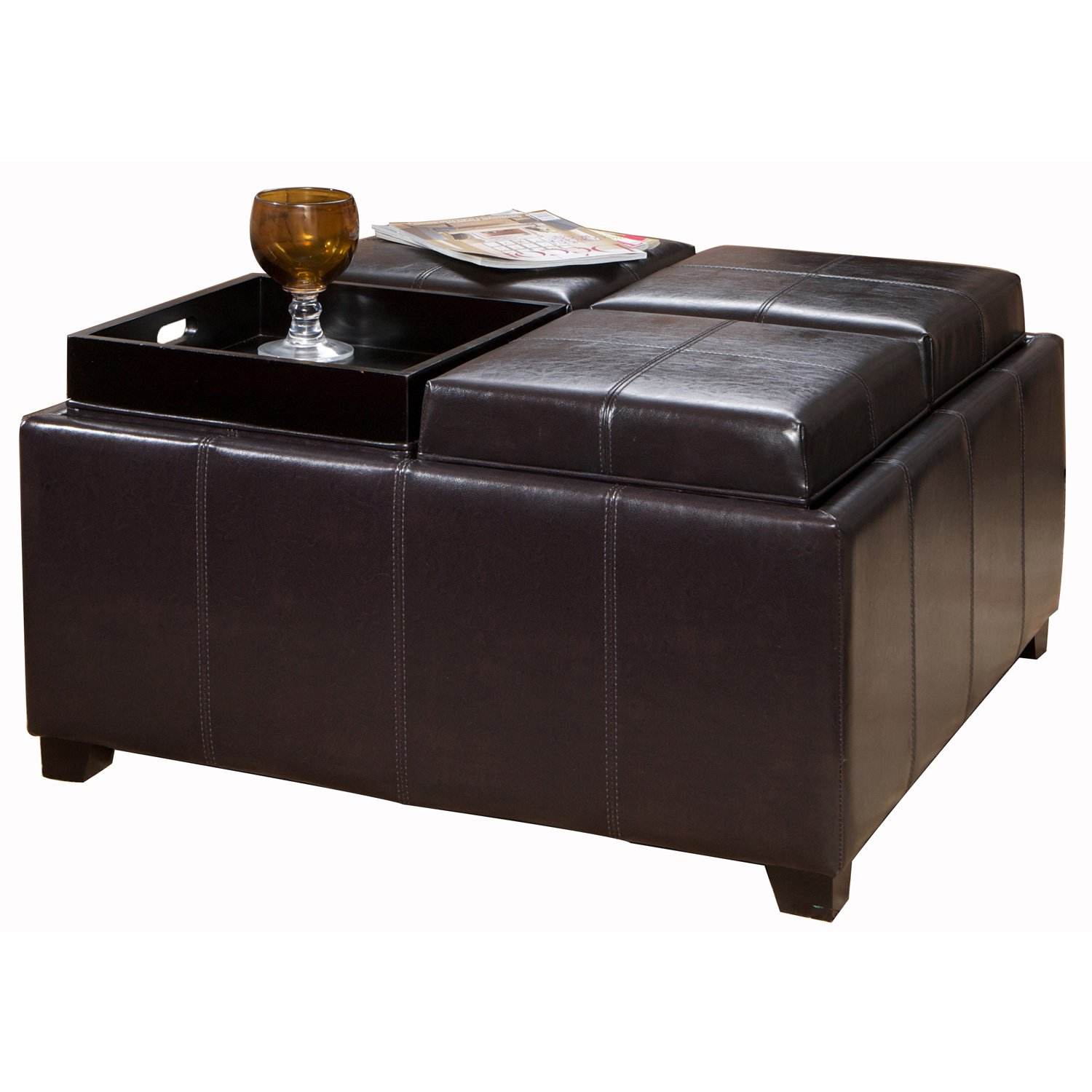 Leather Square Black Ottoman Coffee Cocktail Table Tray 35 X 35