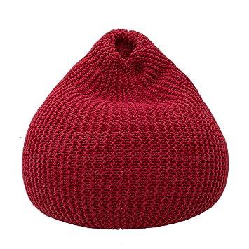 XXFFH® Hand weben faul Sofa, Baumwollfaden Sitzsack, Lassen Sie sich die Gegenwart eines tiefen Kissengefuhls fuhlen , red