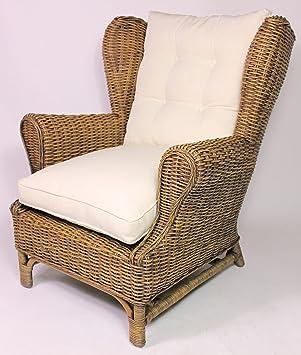 Rattan Ohrensessel King Chair , Rattansessel , Relexsessel , Hochlehner inkl. Polster . Korbfarbe : brown wash