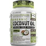 Organic Coconut Oil Capsules / Pills 2000mg/Serving Virgin Cold Pressed Non GMO for Weight Loss, Extra Hair Growth and Healthy Skin. Unrefined Pure Coconut Oil Source of MCFA. 60 Servings/Bottle,120 softgels