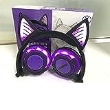 Bluetooth Earphone Cat Ear Wireless Headphones microphone Flashing Glowing Headset,Purple,China (Color: Purple)