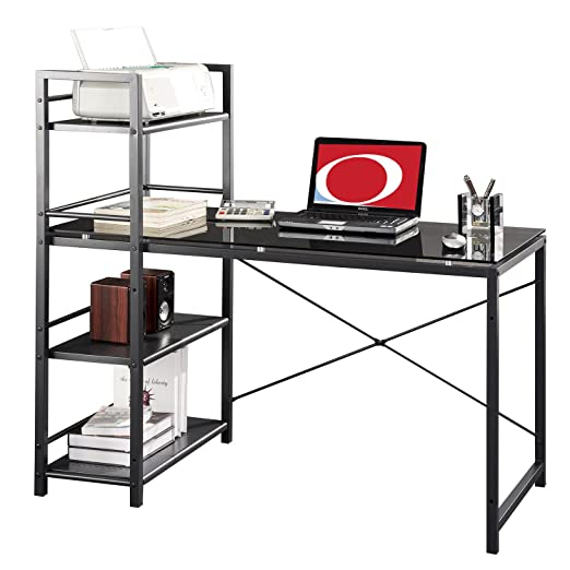 Metro Shop Modern Designs Home Office Computer Desk and Bookcase-Black