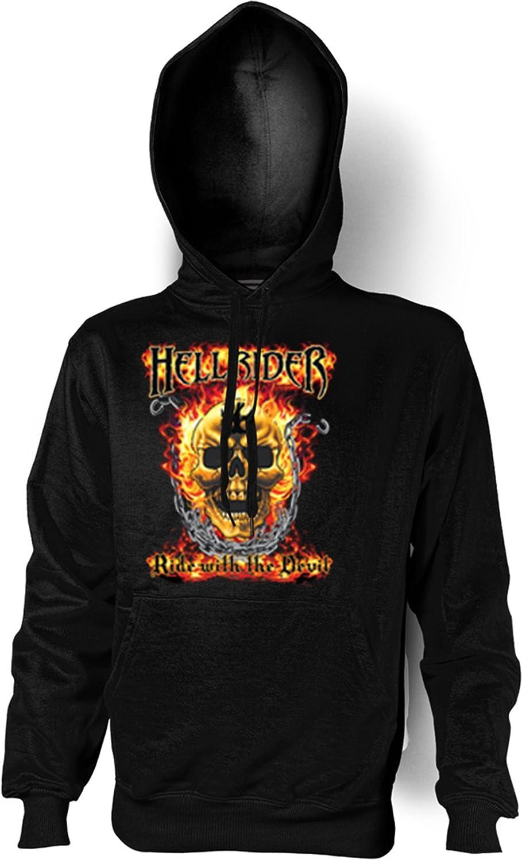 Sweatshirt mit Kapuze – Hoodie Biker Aufdruck: Hell Rider – lässiges Totenkopf Motiv günstig online kaufen