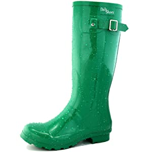 Women's DailyShoes Mid Calf Knee High Hunter Rain Boot Round Toe Rainboots, 6