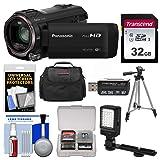 Panasonic HC-V770 Wireless Smartphone Twin Recording Wi-Fi HD Video Camera Camcorder with 32GB Card + Case + LED Light + Tripod + Kit (Color: Black, Tamaño: 32GB Kit)