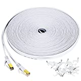 Cat 7 ethernet cable 100 ft, Wireless Outdoor Networking Patch cable with clips,Supports Cat6/Cat6a/Cat5 with Gold Plated RJ45 Connectors for Gaming,MAC,Desktop,ADSL,LAN-White (Color: 100ft White, Tamaño: Cat7 100ft)