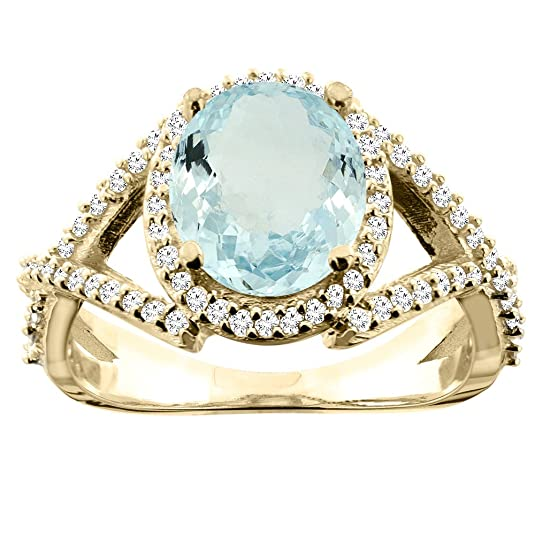 14ct Yellow Gold Natural Aquamarine Ring Oval 9x7mm Diamond Accent 1/2 inch wide, sizes J - T