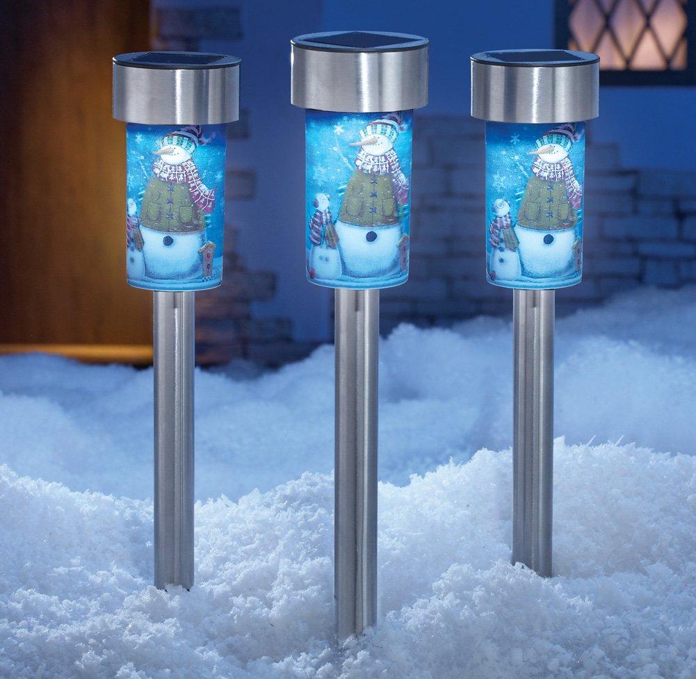 solar snowman garden light stakes set of 3 solar lights. Black Bedroom Furniture Sets. Home Design Ideas