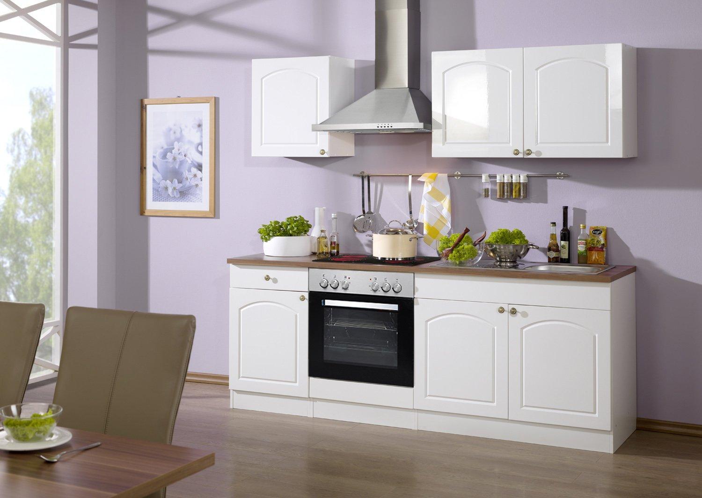 Held Möbel 689.6039 Küchenzeile 210 in Hochglanz-weiß / weiß / Nussbaum mit E-Geräten