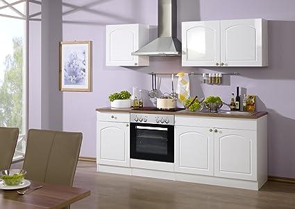 Held Möbel 689.6039 Kuchenzeile 210 in Hochglanz-weiß / weiß / Nussbaum mit E-Geräten