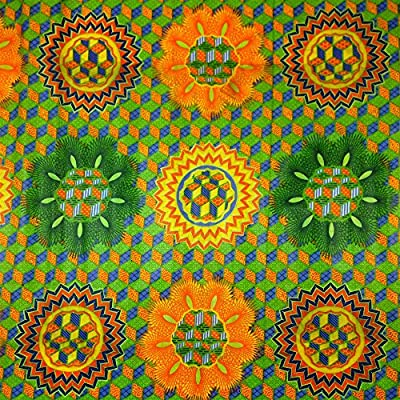African Print Fabric Cotton Print Rubix Green 44'' wide By The Yard Orange Blue