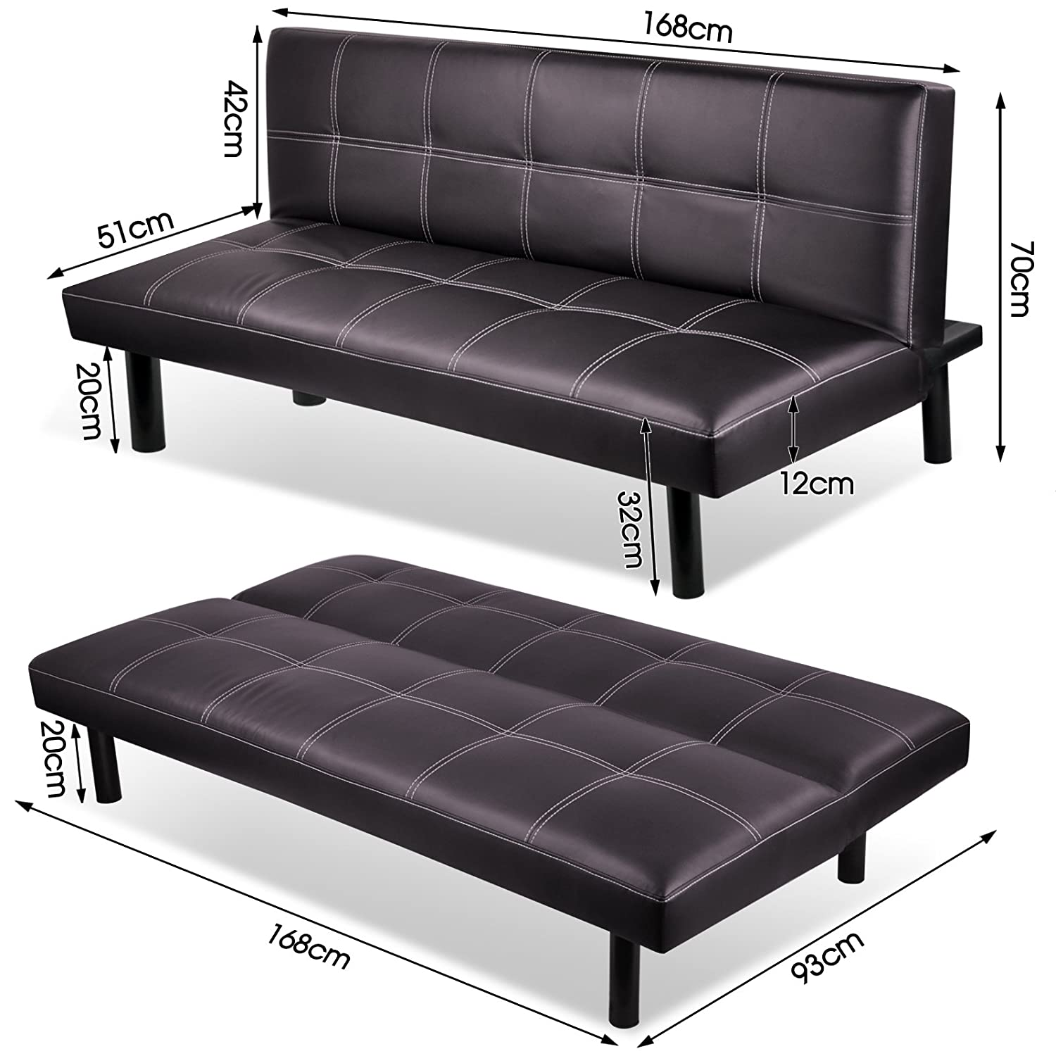 3 Seater Modern Pu Leather Sofa Bed Fold Down Living Room Furniture Office Brown Ebay