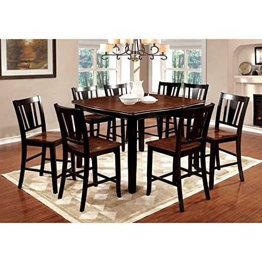 Furniture of America Lohman 9 Piece Counter Height Dual-Tone Dining Table Set