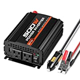 POTEK 500W Power Inverter/Car Converter DC 12V to 110V Dual AC Charging Port and 2A USB ports for Laptop, Smart Phone (Tamaño: 500W)