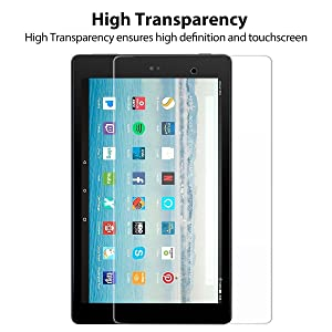 Fire HD 10 Screen Protector (2 Pack )Tempered Glass Screen Protector for Fire Tablet HD 10 Screen Protection 7th 2017 Release