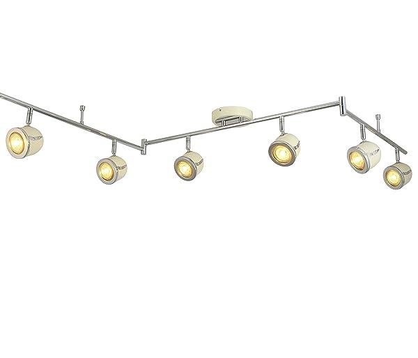 LED Retro Adjustable Eyeball Black &Chrome Ceiling Spotlight (Beige & Chrome, 6 Lights) (Color: Beige & Chrome, Tamaño: 6 Lights)