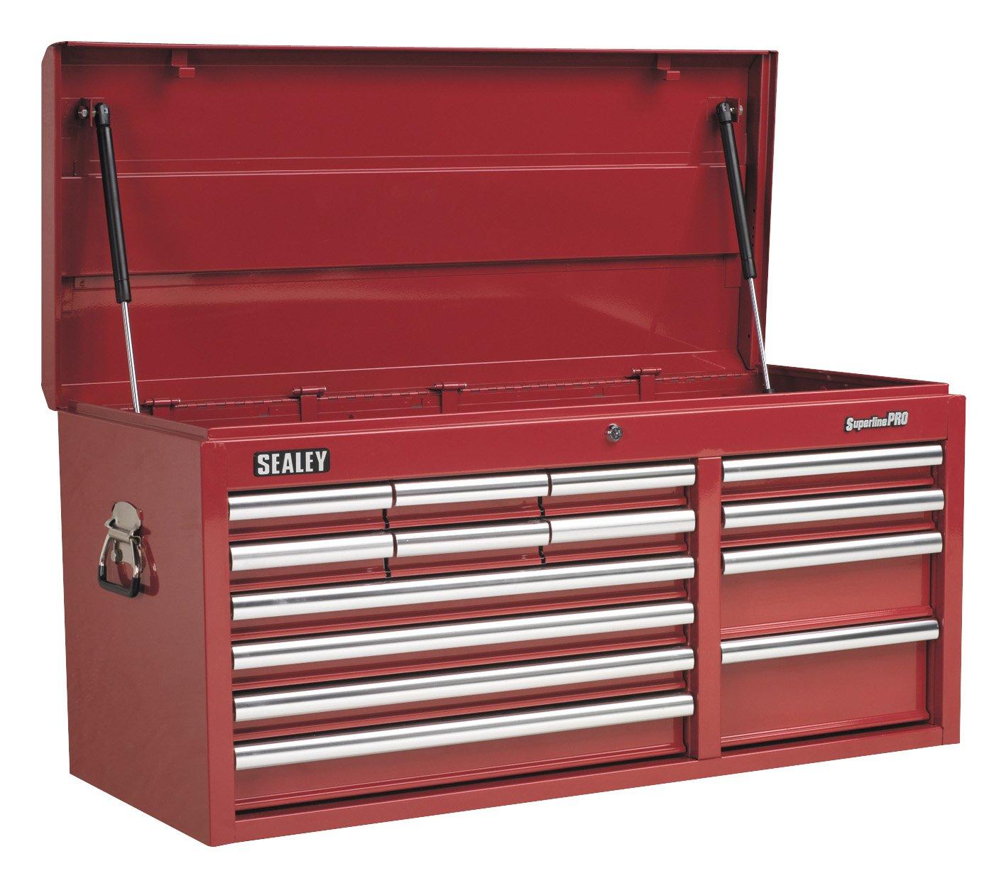 Sealey Werkzeugkiste, mit 14 Schubladen, Kugellager-Schubladenführung, strapazierfähig, 1 Stück Rot