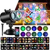 LED Christmas Projector Lights, 2-in-1 Ocean Wave Projector Light with 16 Slides Patterns 10 Colors Waterproof Outdoor Indoor Holiday for Halloween Xmas Home Birthday Party Landscape Decorations (Color: Black)