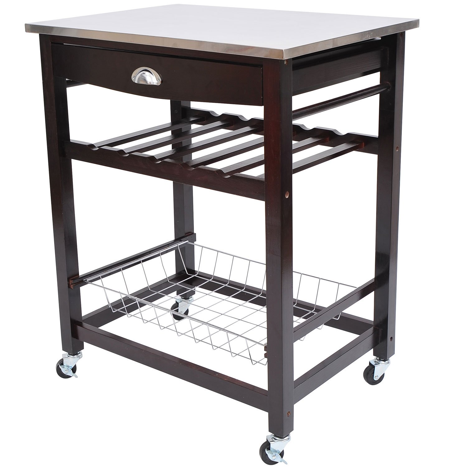 HomCom Rolling Stainless Steel Kitchen Dining Cart Trolley at Sears.com