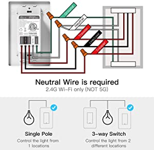 3-way Smart Light Switch,Treatlife WiFi Light Switch Single Pole/3-way Switch Works With Alexa, Google Assistant, Remote Control, ETL, Schedule, No Hub Required, Neutral Wire Required,4 PACK (Tamaño: 4P)